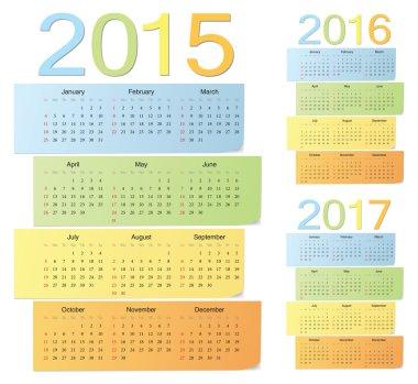 Set of european 2015, 2016, 2017 color vector calendars