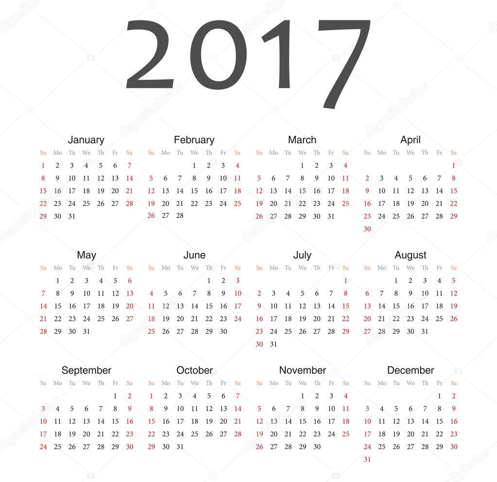 欧州 2017 年ベクトルカレンダー ...
