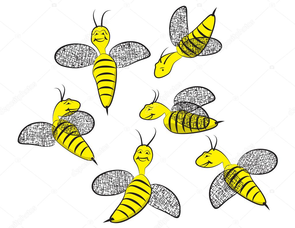 Six Smiling Happy Wasps