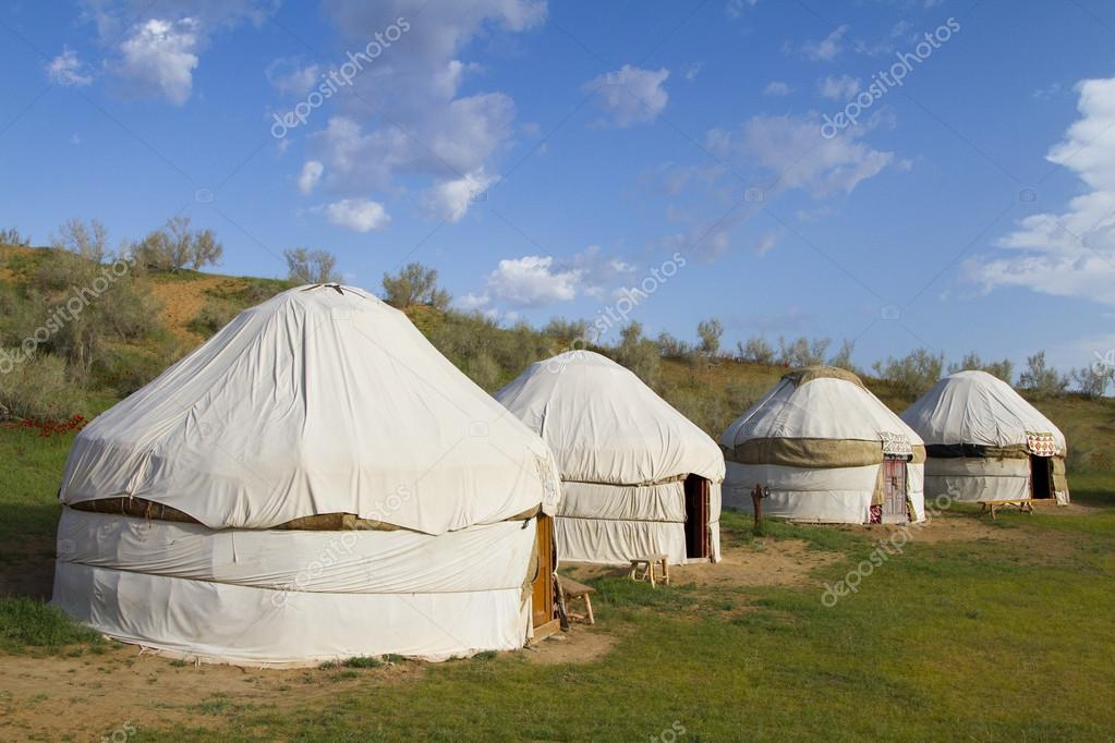 Kazakh yurt in the Kyzylkum desert in Uzbekistan