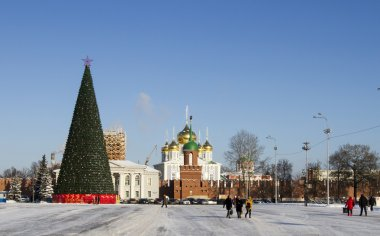 Christmas tree in the central square of the city of Tula