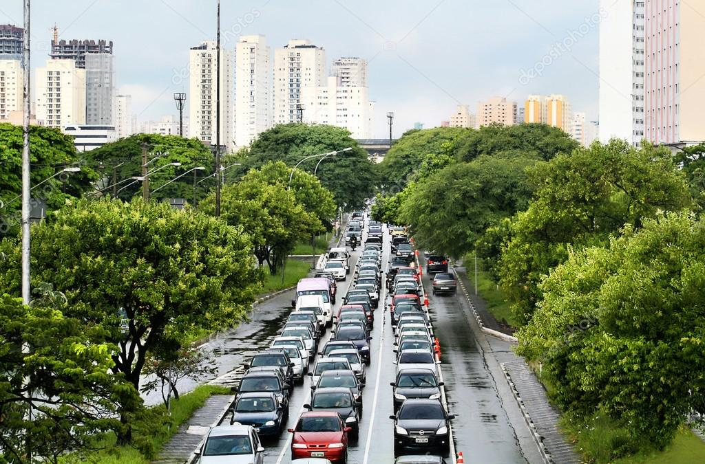 Congestion in Sao Paulo, the largest city in Brazil
