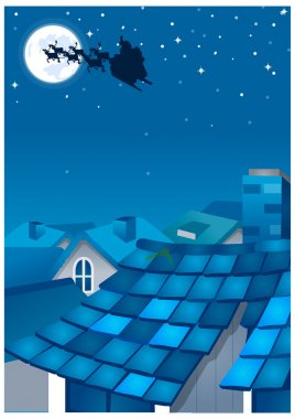 Houses in a town and silhouette of rein deers over moon in the sky at night