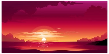 Beautiful sunset above the sea stock vector