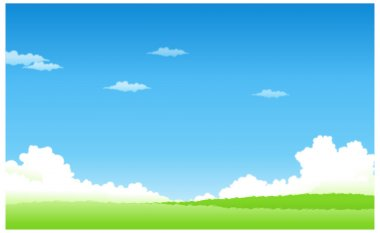 Green landscape with blue sky stock vector