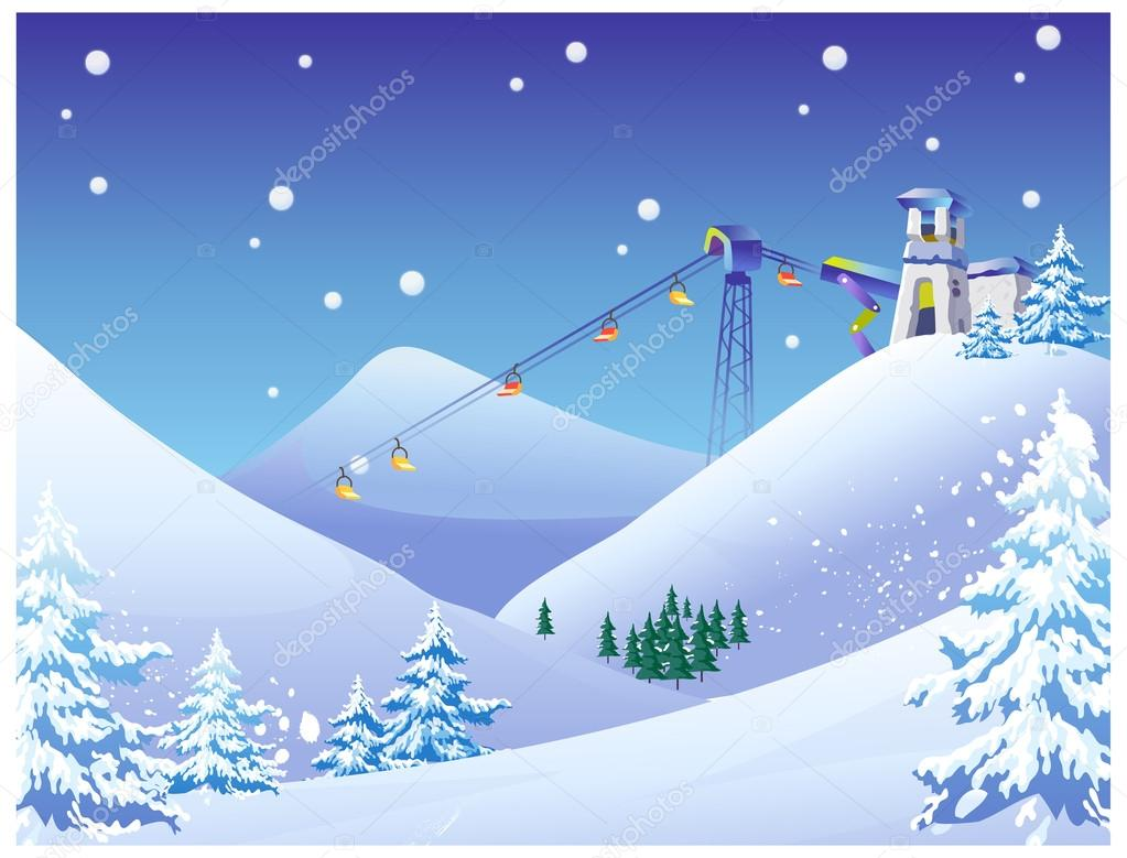 空は雪スキー場で椅子を持ち上げる ストックベクター Zzve 13416252