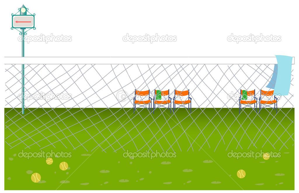 pelotas de tenis esparcidas sobre la cancha de tenis — Vector de ...