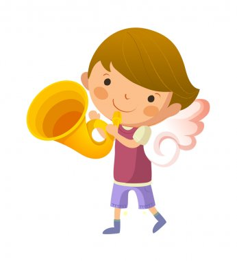 Boy with angel wings and holding trumpet