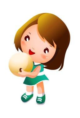 Girl holding bowling ball