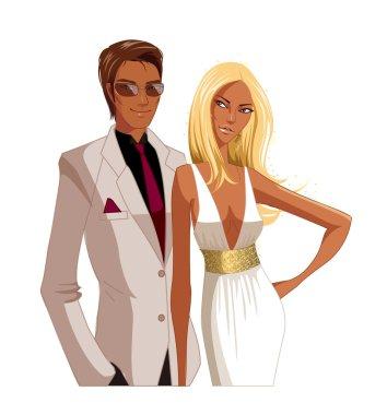 Portrait of Elegant couple clip art vector