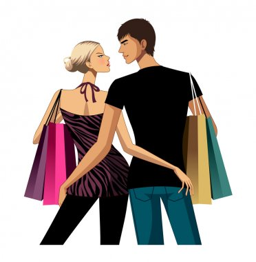 Couple with shopping bags clip art vector