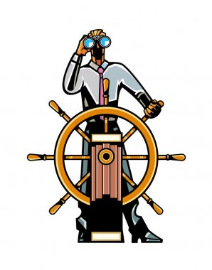 Businessman at the helm of the ship looking through binoculars