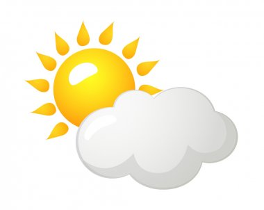 Vector icon sun and cloud
