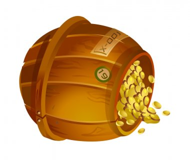 Wooden bucket with gold