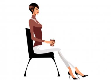 Illustration of woman sitting on chair with cup of  coffee stock vector