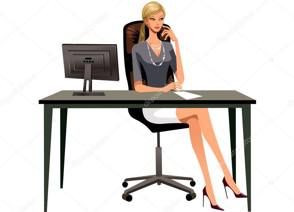 Фотообои Woman is sitting in the office