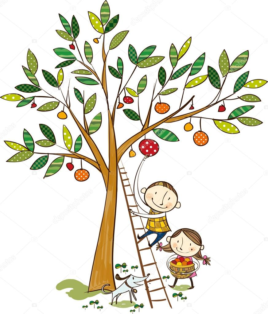 Two kids and the apple tree