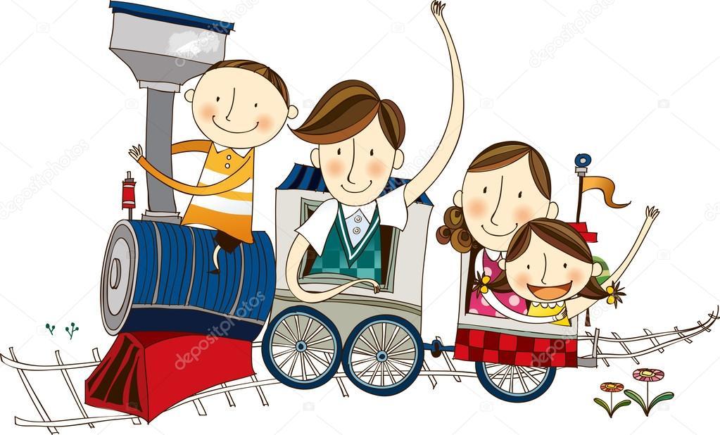 Vector Feliz Viaje Familia: Familia Feliz Viajando En El Tren
