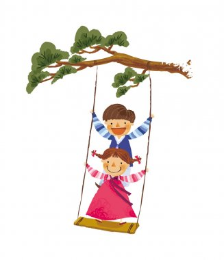 Children ride on a swing