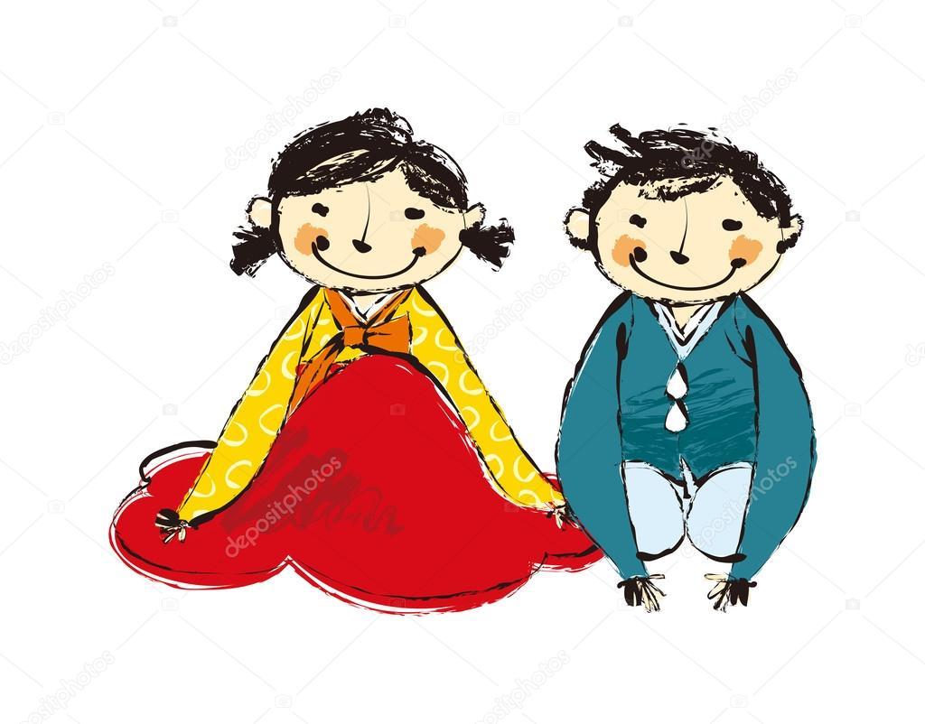 幸せな韓国のカップル — ストックベクター © zzve #45568777