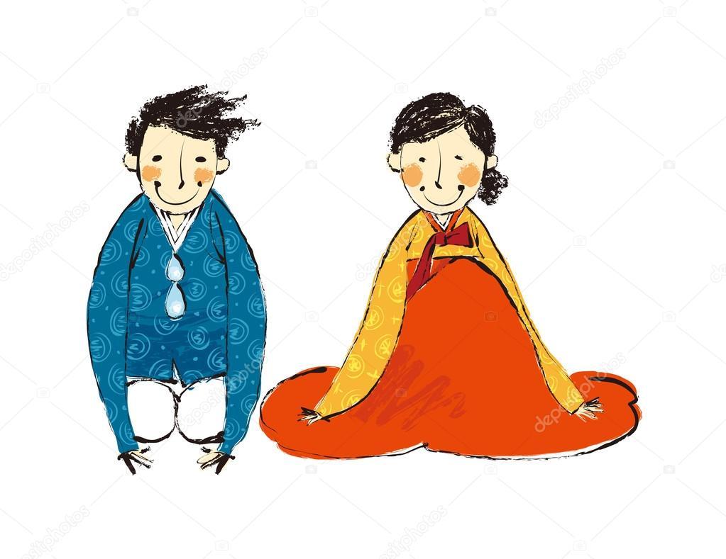韓国伝統衣装のカップル — ストックベクター © zzve #45568789