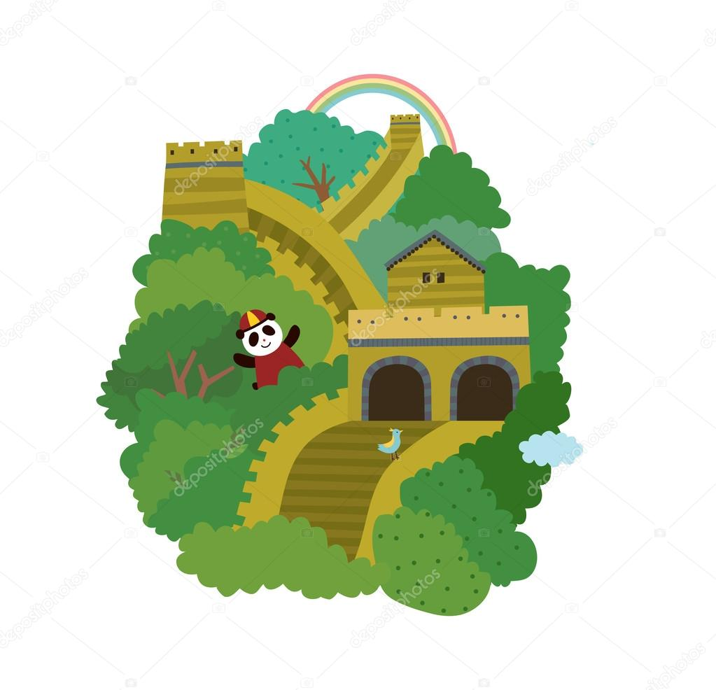 Great Wall of China — Stock Vector © zzve #45593559