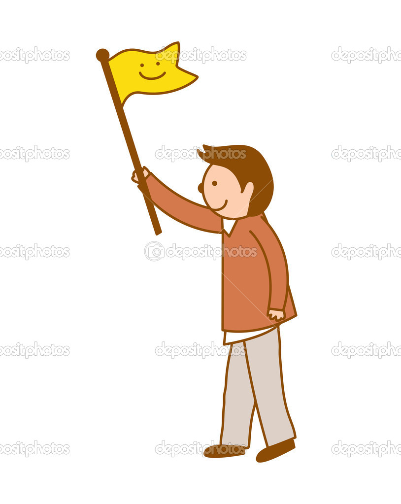 Boy Holds A Flag Stock Vector C Zzve 45595931