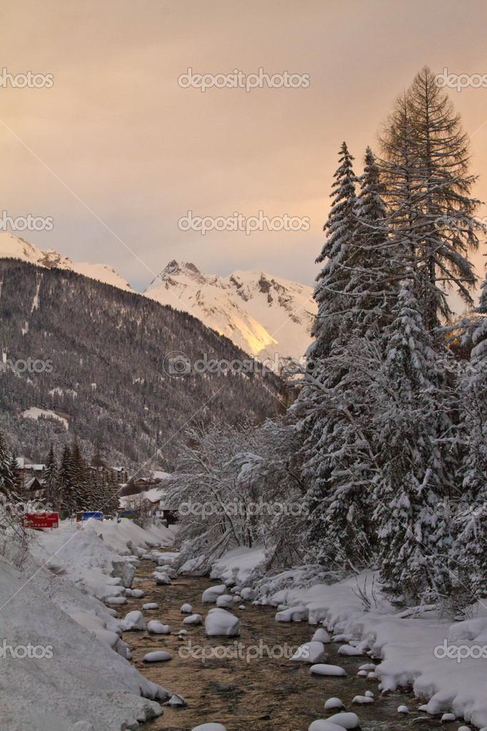 Sunrise in the mountains.Austria. San Anton.
