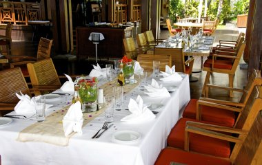 Fine table setting in gourmet restaurant