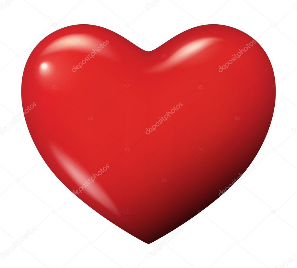 Perfect red heart vector isolated