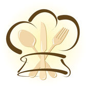 Simple restaurant icon with chef hat and cutlery