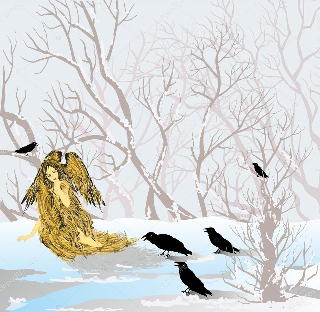 Angel and crows