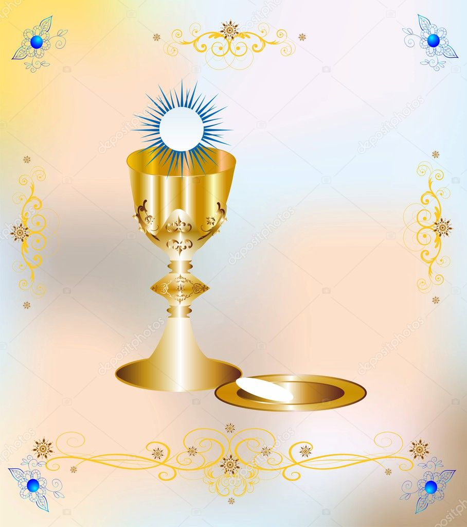 First communion stock vector rodzynka 42171157 religious background with characteristic symbols of holy communion vector by rodzynka buycottarizona Image collections