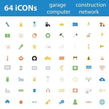 64 Quality design modern vector illustration icons set.