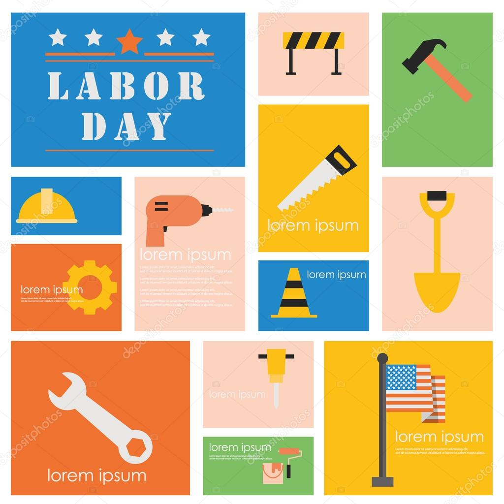 International Labor day and Industry tool icon set
