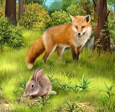 Gray hare eating grass. Hunting fox in the forest
