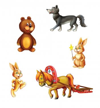 illustration of cute cartoon forest animals
