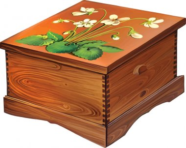 Decorated with flowers wooden box