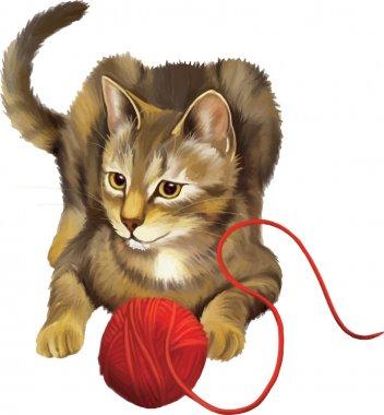 Kitten with ball.