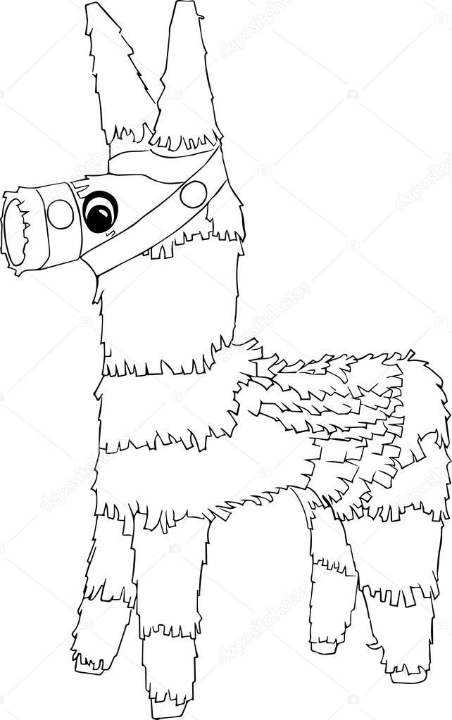 Piñata blanco y negro   caballo blanco y negro piñata — Vector de ...