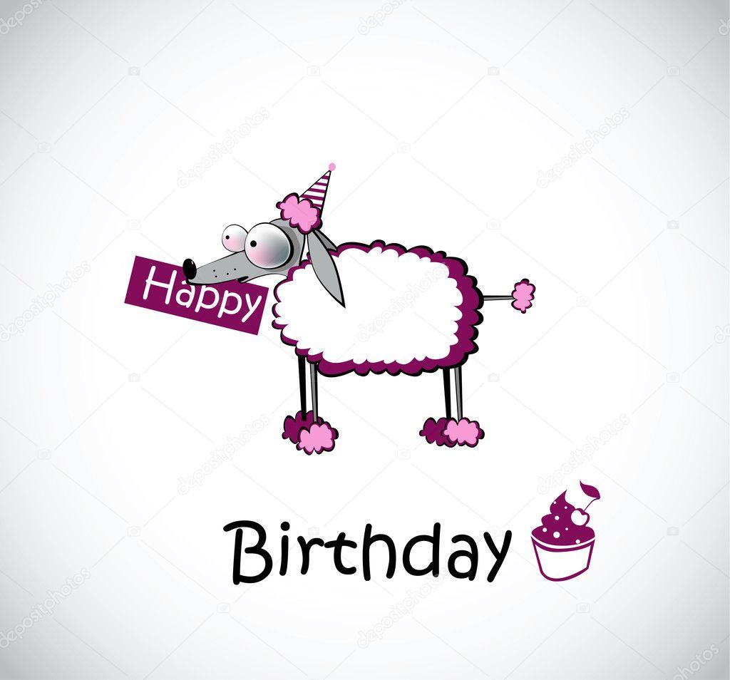 Auguri Matrimonio Tedesco : Boldog születésnapot kártya uszkár — stock vektor