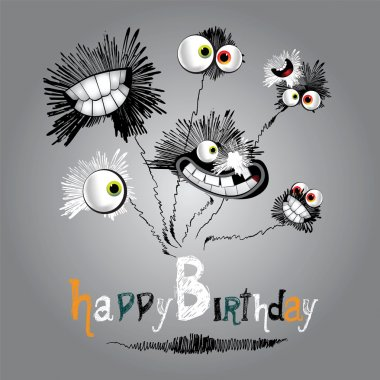Happy Birthday bouquet of flowers clip art vector