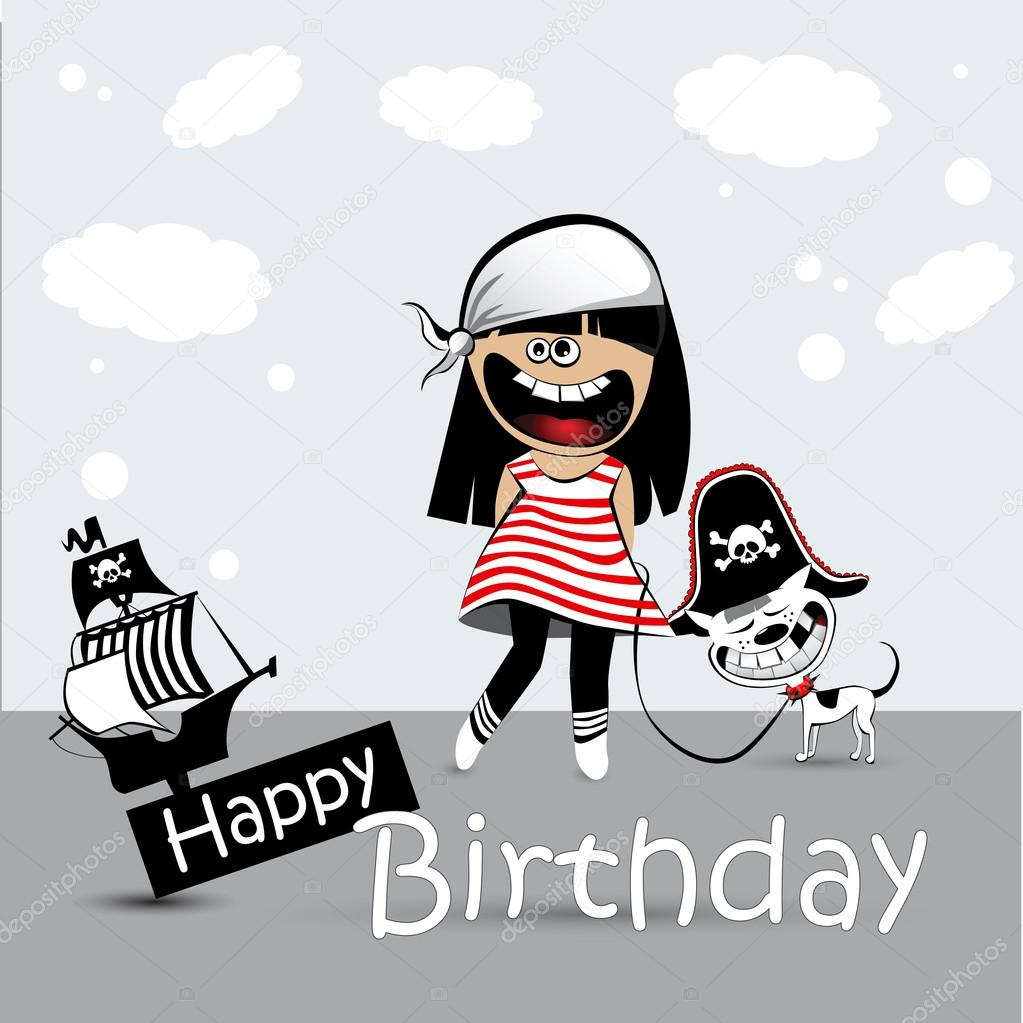 Happy Birthday Card a child with a toy dog pirate Vector – Pirate Birthday Card