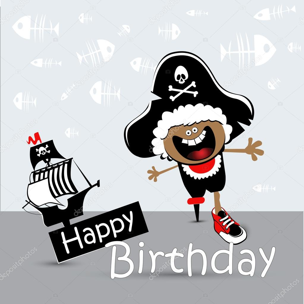 Gelukkige Verjaardag Kaart Kind Piraat Stockvector C Novkota1