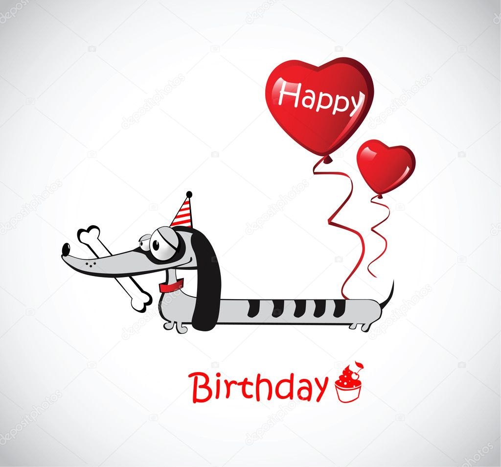 Happy Birthday Card dog Dachshund Vector novkota1 16203193 – Happy Birthday Cards with Dogs
