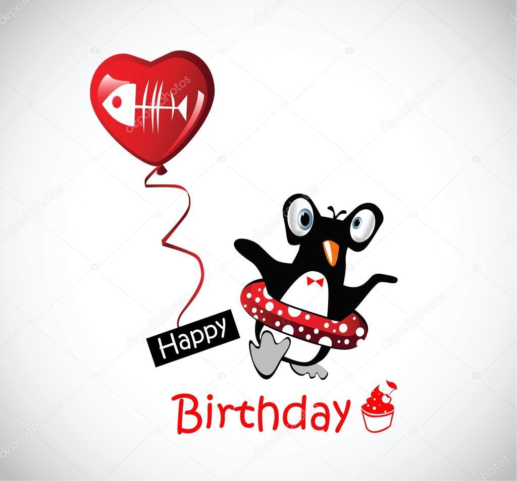roliga grattis Grattis på födelsedagen kort roliga pingviner — Stock Vektor  roliga grattis