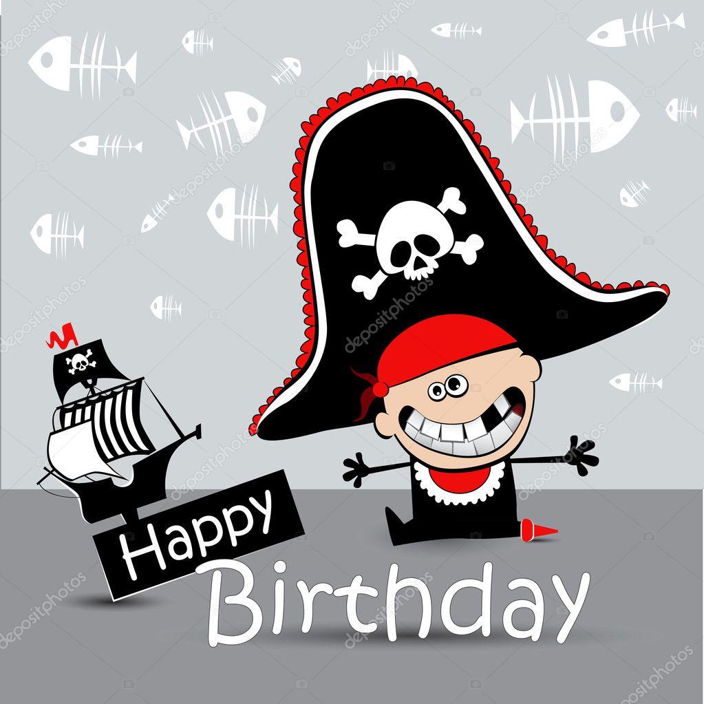 Pirate Birthday Cards Happy Birthday Card Pirate Stock Vector C Novkota1 16203229