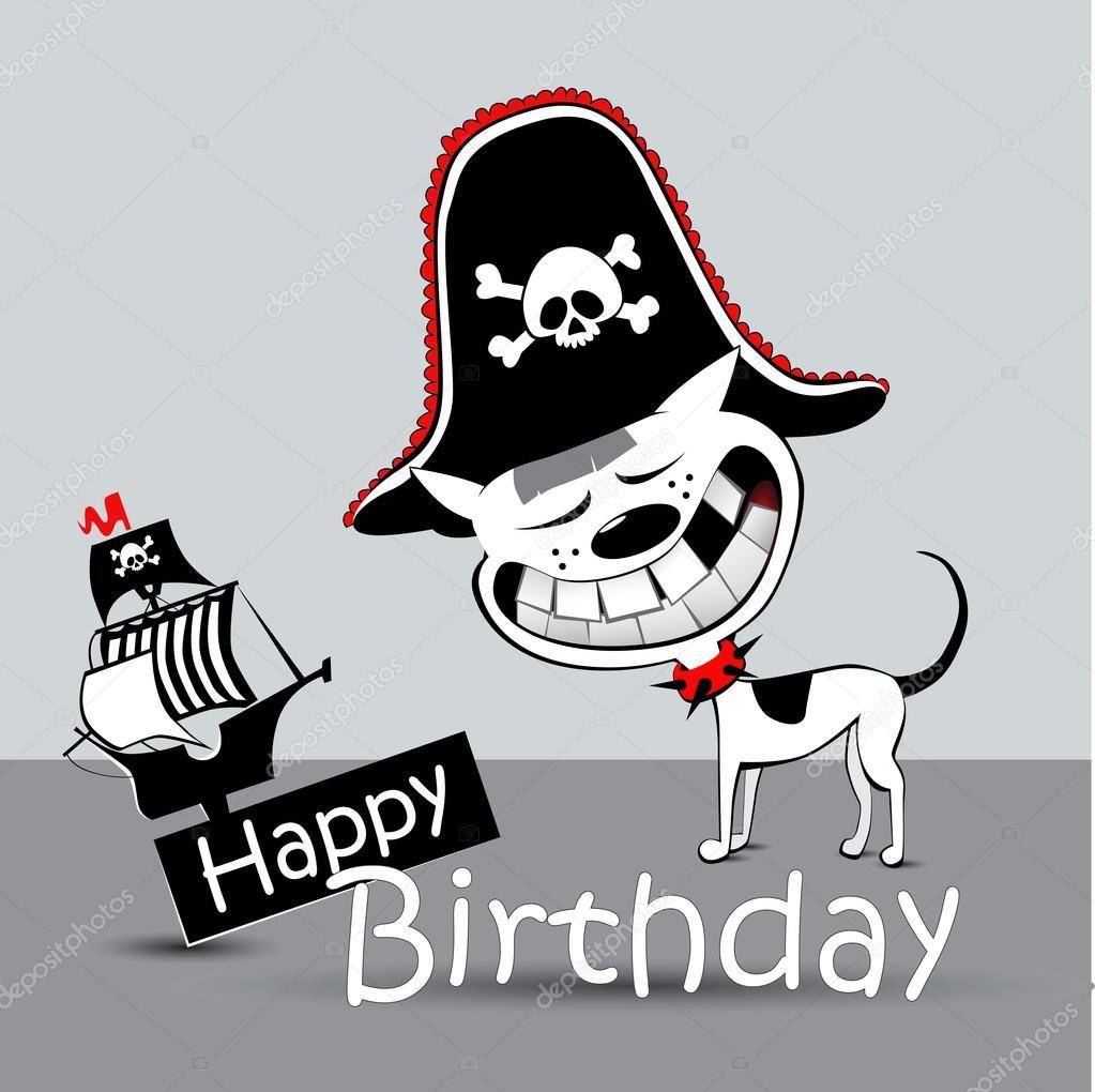 Alles Gute Zum Geburtstag Karte Pirat Hund Lustig Stockvektor