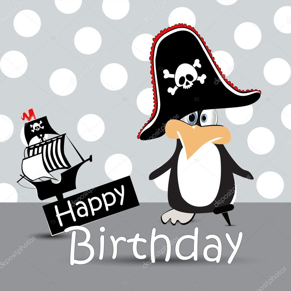 Gelukkige Verjaardag Kaart Piraat Pinguin Stockvector C Novkota1