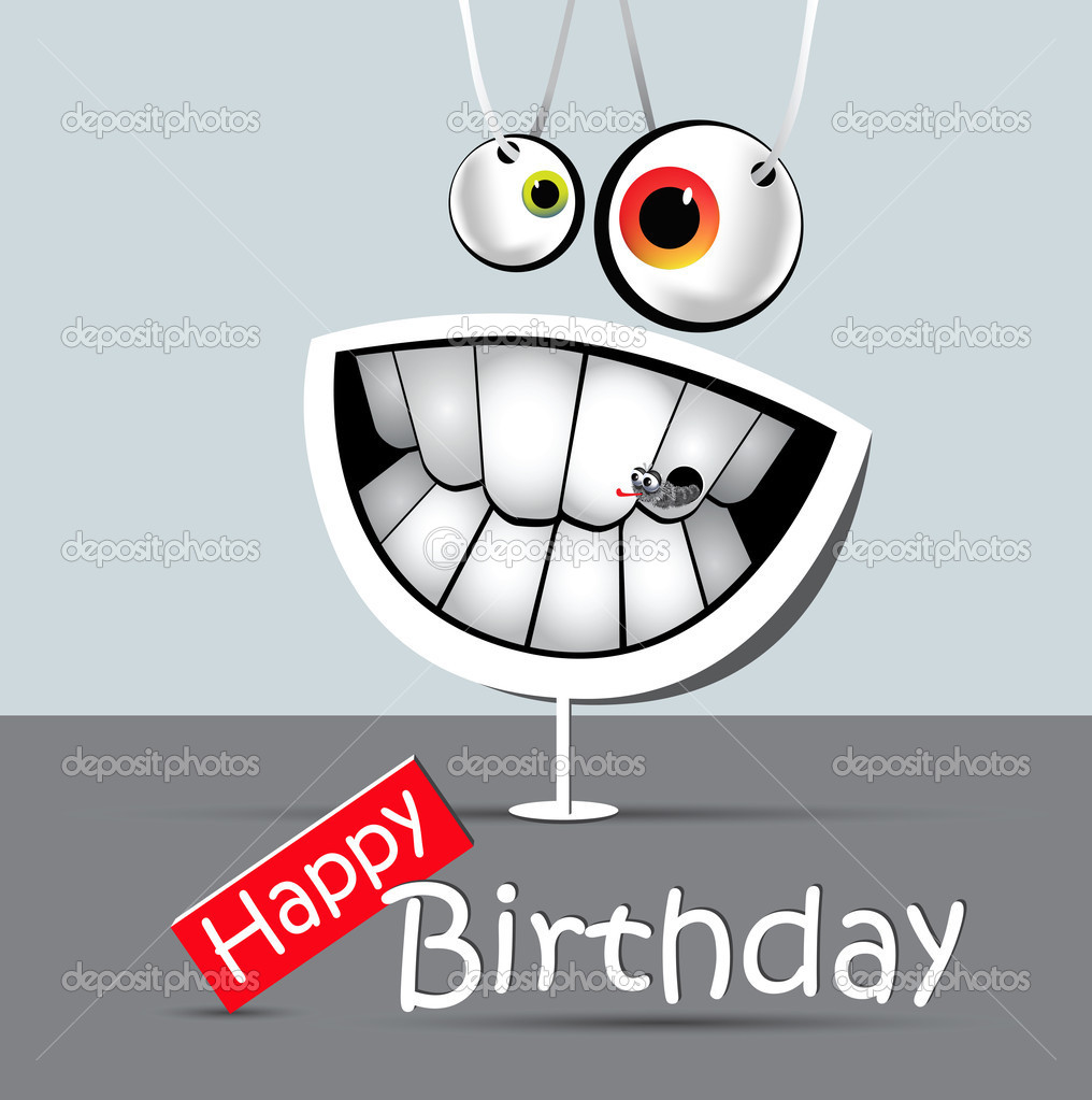 Happy Birthday Funny Card Smile Gray And White